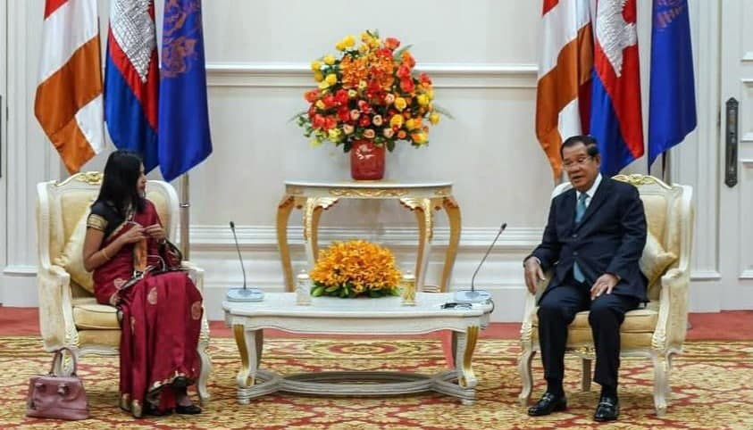 Samdech Techo Hun Sen Meets with New Indian Ambassador to the Kingdom of Cambodia